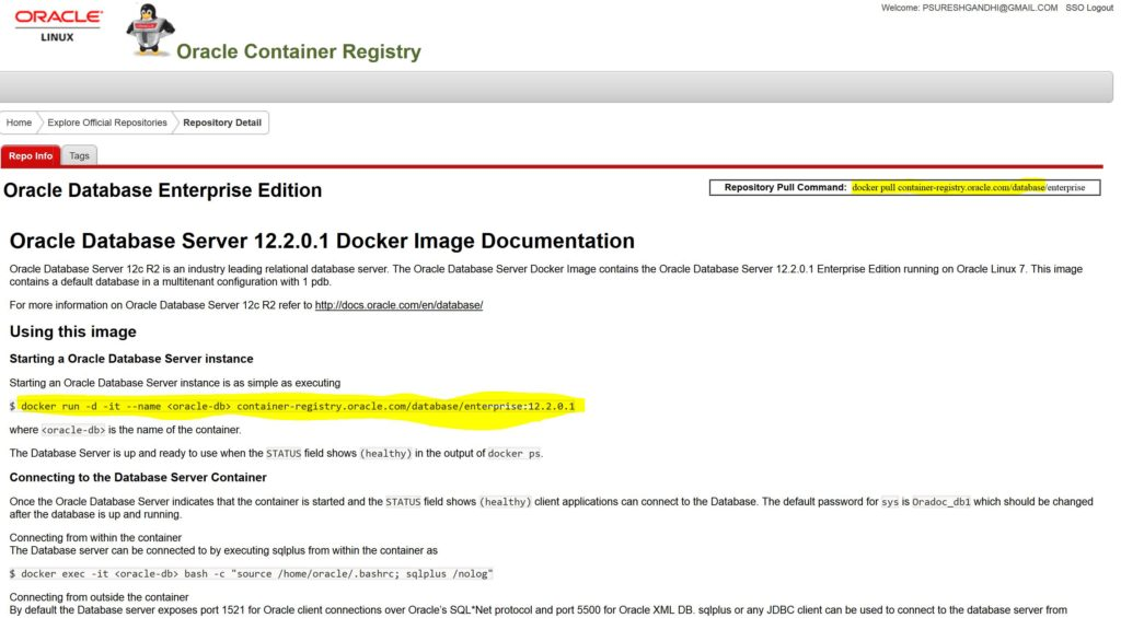Oracle Container Registry – Docker for Oracle Databases